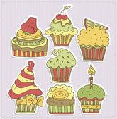 Delicious cupcakes vector illustration — Stock Vector