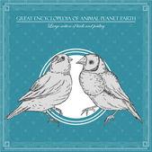 Grote encyclopedie van de dierlijke planeet aarde, vintage vogels illustratie — Stockvector