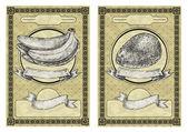 与香蕉和芒果的复古横幅。复古风格矢量图 — 图库矢量图片
