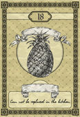 Vintage banner with pineapple. Vintage style vector illustration — Stock Vector