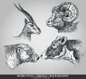 Set of animals cow, sheep, goat, bear. Vector illustration — Vector de stock