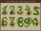 Year of the snake. Autumn figures as a snake. — Vector de stock