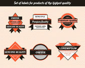 Set of labels for products of the highest quality — Stock Vector