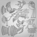 Set of fantastic birds in folk style. — Stock Vector #30579013