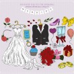 Set of wedding attributes. — Stock Vector