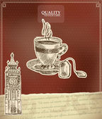 Vintage quality label for tea with Big Ben tower — Stock Vector