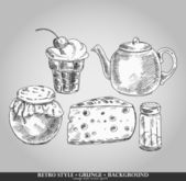 Set of tea time elements — Stock Vector