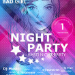 Stok Vektör: Night party design poster with fashion girl
