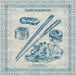 Vintage sushi restaurant banner — Stock Vector #32069709