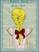 Vektör çizim güzel bir kız, saç modeli — Stok Vektör