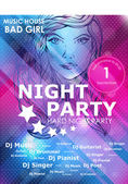 Night party design poster with fashion girl — Cтоковый вектор