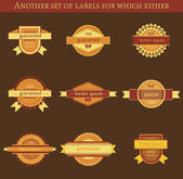 Retro vector labels and badges on brown background — Stock Vector