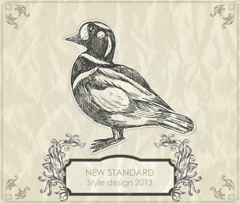 复古的手绘图鸭