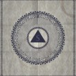 Mystic symbol. Triangle in circle — Stock vektor