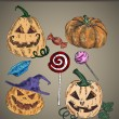 Halloween decorations set — Imagen vectorial