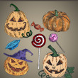 Stock Vector: Halloween decorations set