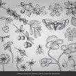 Abstract floral art, flowers, plants, insects items for decoration — Imagen vectorial