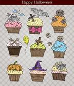 Cartoon Halloween muffins — Stock Vector