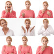 Woman multiple expression image on white background - Stock Photo