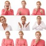 Woman multiple expression image on white background — Stock Photo