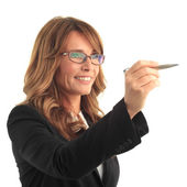 Business woman with pen — Stock Photo