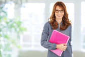 Business woman standing in the office, holding a file in her hands — Stockfoto