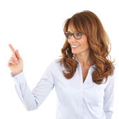 Teacher pointing at something — Stock Photo