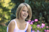 Close-up portrait of a blond teenager girl — Stock Photo
