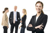 Happy Business woman standing and smiling. — Stock Photo