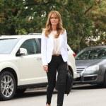 Mature Businesswoman on Downtown Sidewalk — Stock Photo