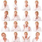 Vrouw meerdere expressie afbeelding op witte achtergrond — Stockfoto