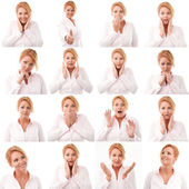Woman multiple expression image on white background — Stok fotoğraf