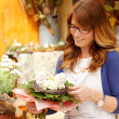 Smiling Mature WomFlorist Small Business Flower Shop Owner — Stok Fotoğraf #26872851