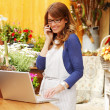 Stock Photo: Smiling Mature Woman Florist Small Business Flower Shop Owner