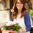 Smiling Mature Woman Florist Small Business Flower Shop Owner — Stock Photo