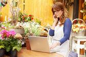 Sorridente donna matura fiorista piccolo fiore negozio imprenditore — Foto Stock