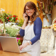 Smiling Woman Florist — Stock Photo