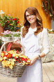 Smiling Woman Florist, Small Business Flower Shop Owner — Stock Photo