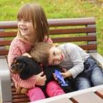 Happy kids in the park — Stock Photo