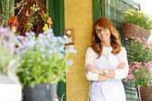 Smiling Woman Florist — Foto Stock