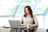 Beautiful businesswoman working on her laptop — Stock Photo