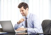 Businessmen working on laptop — Stock Photo