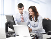 Businessmen working with his colleague — Stock Photo