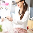 Modern young fashion designer working — Stock Photo