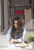 Young beautiful businesswoman working at home — Stock Photo