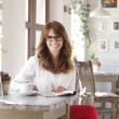 Stock Photo: Beautiful womin coffee shop