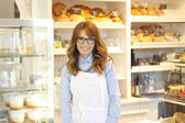 Business bakery shop owner — Stok fotoğraf