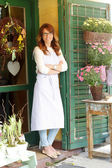 Small florist shop owner — Stock Photo
