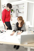 Teamwork in small architect studio — Stock Photo