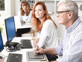 Teamwork in graphic design studio. — Stock Photo